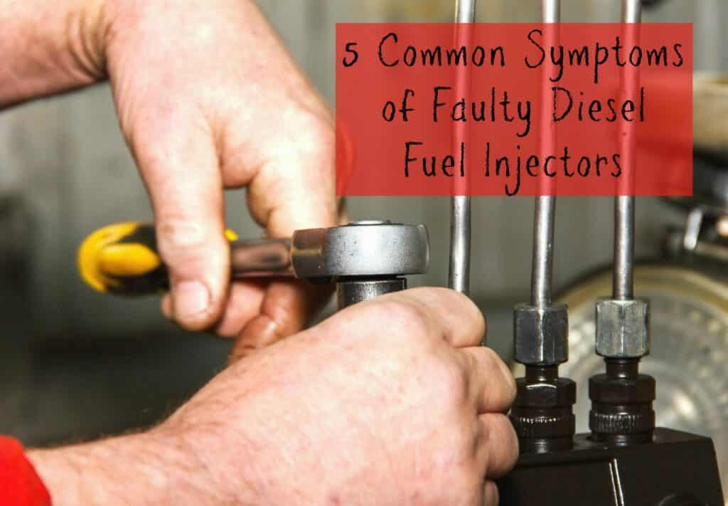 "A close-up of hands fixing a fuel injector system, captioned ""5 Common Symptoms of Faulty Diesel Fuel Injectors"""