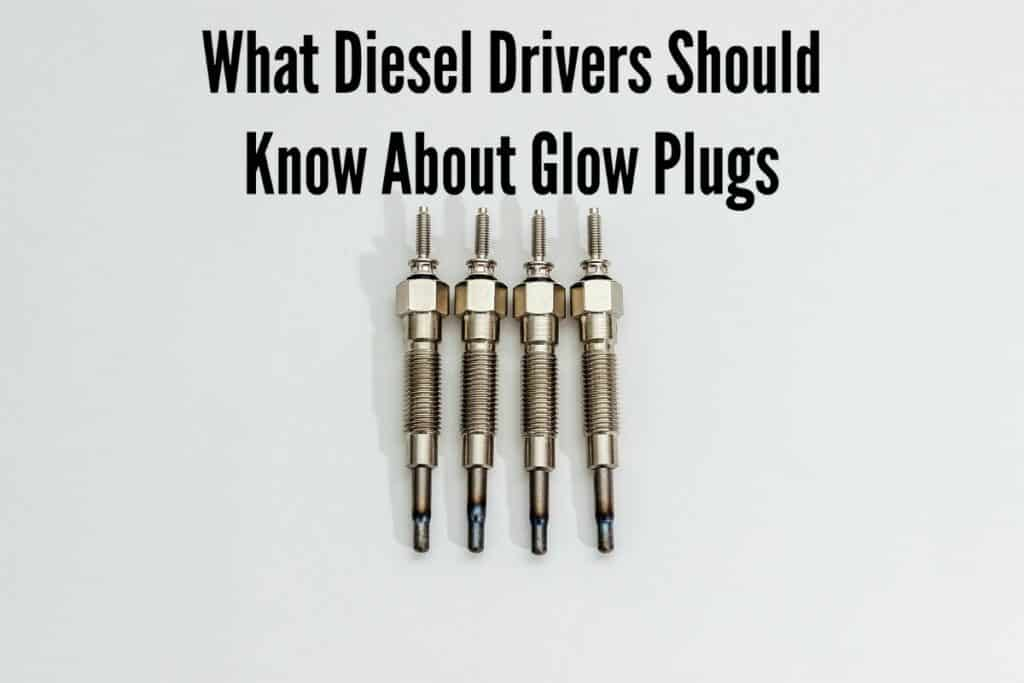 """Close-up of four used glow plugs for diesel engines, captioned """"What Diesel Drivers Should Know about Glow Plugs"""""""