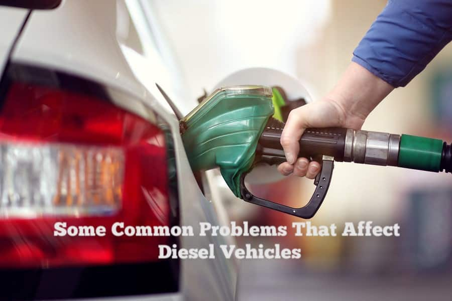 """Close-up of a hand refilling a white car's tank with a gas pump, captioned """"Some Common Problems that Affect Diesel Vehicles"""""""