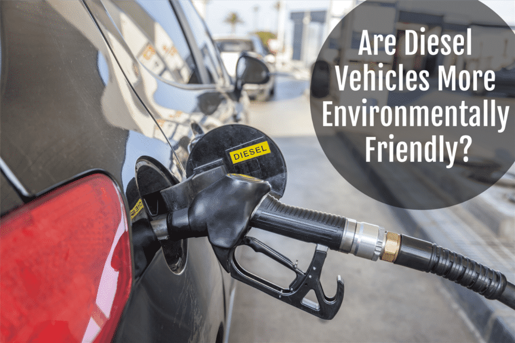 """Close-up of a black diesel pump refilling a car's fuel tank, captioned """"Are diesel vehicles more environmentally friendly?"""""""