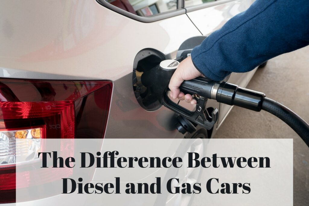 """A person refilling the fuel tank of a car with diesel, captioned """"The Difference Between Diesel and Gas Cars"""""""
