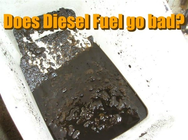 "Dark and contaminated diesel fuel discarded on a white tub, captioned ""Does Diesel Fuel Go Bad?"""