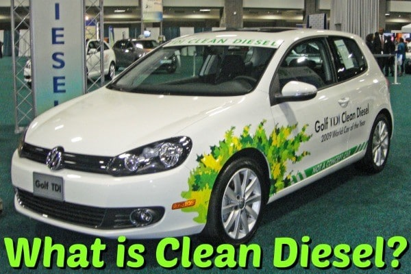 "A white Volkswagen Golf TDI 2009 model with the caption ""What is Clean Diesel?"""