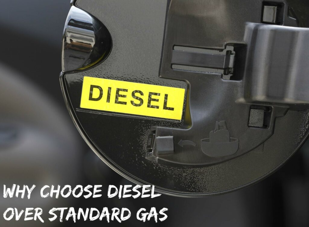 "A black car fuel tank cover with a yellow diesel label, captioned ""Why Choose Diesel Over Standard Gas"""