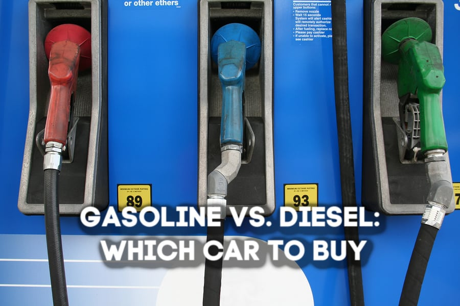 """Three gasoline pumps with different colors and octane rating stickers captioned """"Gasoline Vs. Diesel: Which Car to Buy?"""""""