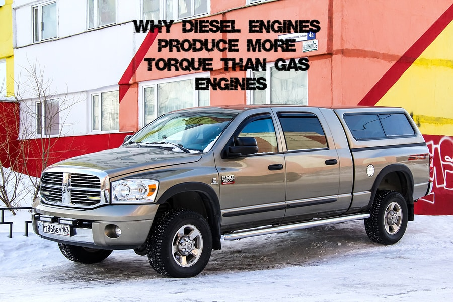 "A gray RAM 2500 heavy-duty pickup truck with the caption ""Why Diesel Engines produce more torque than gas engines?"""